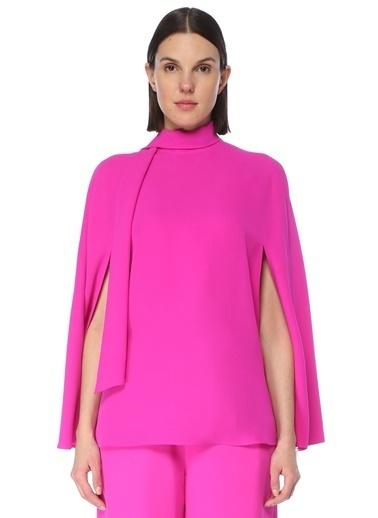Valentino Valentino Fuşya Yakası Bağcıklı Kolları Yırtmaçlı İpek Bluz 101619556 Fuşya